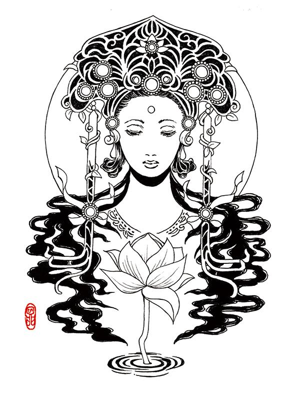 蓮花と菩薩